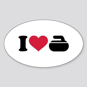 I love Curling stone Sticker (Oval)